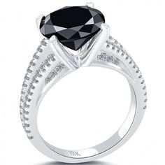 4.83 Carat Certified Natural Black Diamond Engagement Ring 18k White Gold - Black Diamond Engagement Rings - Engagement