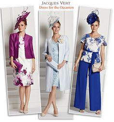 Jacques Vert summer wedding and Ascot outfits - purple print shift dress and jacket blue dress matching frock coat occasion trousers and evening tops