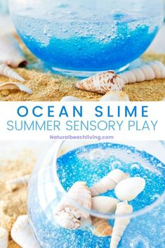 Ocean Activities, Summer Crafts For Kids, Summer Activities For Kids, Preschool Activities, Sensory Bags, Sensory Play, Slime For Kids, Clear Slime, Slime Recipe