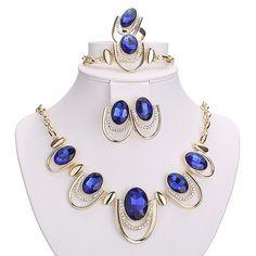 Women's Jewelry Sets Gold Plated Necklace Bracelets Earrings Set