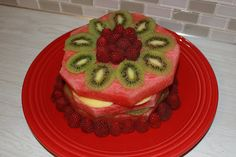 Not Your Mother's Fruit Cake - healthy fruit cake with watermelon, mango, kiwi, and raspberry. Healthy Fruit Cake, Fresh Fruit Cake, Healthy Fruits, Fruit Cakes, Gf Recipes, Cooking Recipes, Fruit Birthday Cake, Clean Eating Desserts, Different Recipes