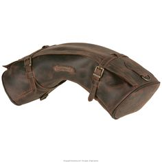 Saddlebags etc. is what this company is excellent in and one will have to be measured upon... Half-moon shaped cantle bag, zip closure , fitted with two straps for securing to the saddle or saddle bag, bordered and edged with double stitching. It is water resistant as water-repellent leather is used in its construction, the accessories are top quality and customised. Dimensions: ca. 58x18x13 cm