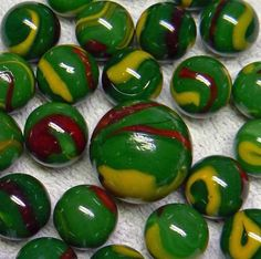 "Unique and Custom {5/8"" Inch} Set of 24 ""Round"" Opaque Marbles Made of Glass for Filling Vases, Games and Decor w/ Shiny Swirled Fantasy Dungeon Dragon Design (Green, Maroon, and Yellow) w/ Shooter * Continue to the product at the image link. (This is an affiliate link) #VaseFillers"