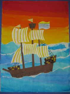 "4th grade watercolor pirate ship collage painting; 22""X28""; art teacher: Susan Joe"