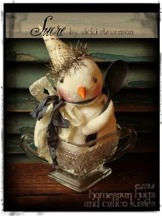 Sugared snowman in vintage glass sugar bowl! ♥ Homespun Hugs and Calico Kisses Primitives