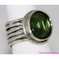 Silpada Artisan Jewelry Lime Green Glass 925 Sterling Silver Wi..