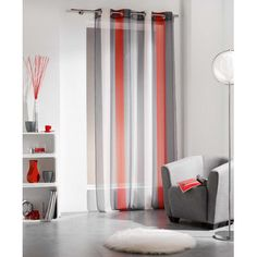 Evideco Riviera Curtain Single Curtain Panel & Reviews | Wayfair Supply Decor, Drapes Curtains, Voile Curtains, Curtains, Panel Curtains, Furniture, Paneling, Striped Curtains, Cool Curtains
