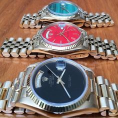 Pic by my friend : I love this Day-date trio ! Do you guys prefer onyx, stella or machelite dial❓ Colour Block, Color Blocking, Rolex Day Date, Dream Watches, Vintage Rolex, Rolex Datejust, Cartier, Rolex Watches