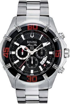 Stainless Steel Marine Star Chronograph Black Dial Red Accents by Bulova. $300.78. Brushed and polished stainless steel case and link bracelet with push button hidden deployment. Black dial with luminous silver tone hands and hour markers. Retrograde date display. Tachymeter along the bezel. 24 hour sub dial. 60 minute chronograph. Precise Quartz movement. Scratch resistant mineral crystal. Fold-over push-button deployment clasp. Water resistant to 100m. Case meas...