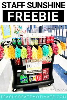 Thinking about starting a cart similar to this to spread some cheer and boost teacher morale when we return from school. How many of your schools have a and what are your favorite treats on it? Teacher Morale, Staff Morale, Employee Appreciation Gifts, Teacher Appreciation Week, Volunteer Appreciation, Principal Appreciation, Appreciation Note, School Leadership, School Counseling
