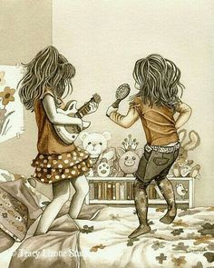 Rock Stars - archival watercolor print by Tracy Lizotte I could totally see us doing this---even at our current age! Sister Love, Animation, Watercolor Print, Oeuvre D'art, Little Girls, Best Friends, Illustration Art, Artsy, Sketches