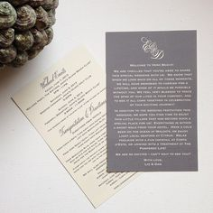 Welcome Bag inspiration - Welcome cards; nice wording (Included: Weekend events, transportation & directions)
