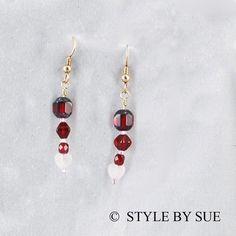 Red Czech Glass and Rose Quartz Hearts  SESR26