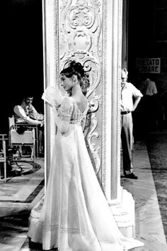 "Audrey Hepburn and Henry Fonda on the set of ""War and Peace"" (1956) (that dress"