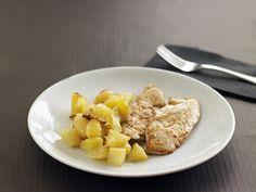 Filets de pollastre amb patates fregides.