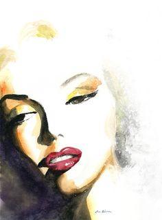 Marilyn Monroe Watercolor Portrait Print  Close up by sookimstudio