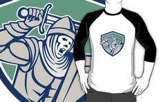 Crusader Knight With Sword and Shield Retro by patrimonio