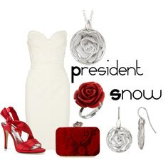 President Snow, created by checkers007.polyvore.com  No idea why one would want to dress like Snow, but here it is anyway. Outfit for The Hunger Games, President Snow.