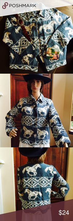 100% cotton horse jacket This button down jacket is very thick woven 100% cotton. Reposh, too big for daughter. Very good condition looks barely worn. Great for horse lovers - cute & comfy. Falls at or slightly below waist depending on body size. New Direction Jackets & Coats