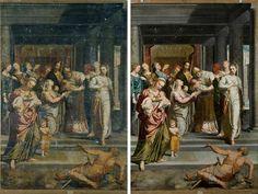 La Purificación de la Virgen de Pedro de Campaña, antes y después de la restauración en el MNP