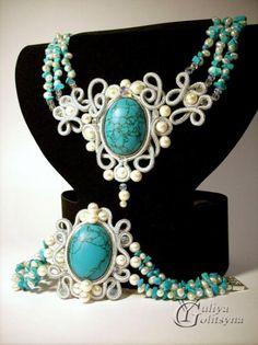 """Conjunto (collar y pulsera) con tecnica soutache """"turquoise"""""""