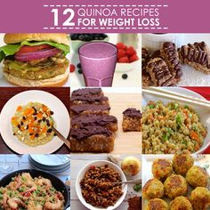 12 Quinoa Recipes for Weight Loss. Quinoa is naturally low in fat and calories and high in protein, making it ideal for weight loss. #quinoa #superfood #recipes #dinner #lunch #meals