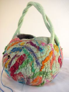 Ready to Ship: Rainbow Yarn bowl 'Painters Palette' made from wet felted wool. Take your knitting or crochet on the GO! Gift for yarnies! by ZanieCraftsFeltedArt on Etsy