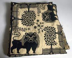 1842 NY coverlet of a lion, trees, and fencing