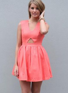 Pink Party Dress - Pink Sleeveless V-Neck Dress with