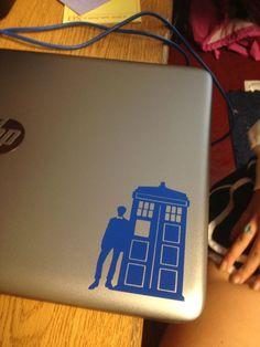 Customized cricut vinyl Dr Who tardis design for laptop computer.