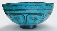 Second half 15th c. Kubachi ware bowl, stonepaste incised and painted in black under a turquoise glaze (12 3/8 x 5 3/4 in.) - Met Museum 17.120.70