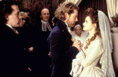 Kenneth Branagh as Victor Frankenstein and Helena Bonham Carter as Elizabeth Frankenstein in Frankenstein (1994).