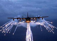 Lockheed C-130 Deploying Flares