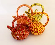 South African ceramic artist Colleen Lehmkuhl : Teapots. Studied Ceramic Design at the Joburg Art College in the 70's.  Inspired by workshops attended at La Meridiana Ceramic school in Tuscany presented by Lucianne La Salle and Susan Nemith in 2009 covering Sculpting the Human Form and Inlaid Porcelain respectively