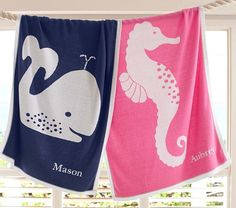 Seahorse & Whale Stroller Blanket | Pottery Barn Kids