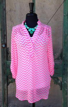 Neon Pink Chevron Blouse $44
