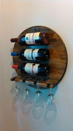 Wall Mounted Wine Rack Wine glass Wood Wine by Rochcustomworks Wine Glass Shelf, Wine Glass Rack, Wood Wine Racks, Glass Shelves, Wall Shelves, Barrel Projects, Wood Projects, Articles En Bois, Wine Barrel Furniture