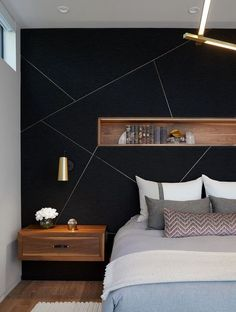 Feature Wall Bedroom, Accent Wall Bedroom, Feature Walls, Black Accent Walls, Black Walls, Black Wall Paints, Black Accents, Contemporary Bedroom, Modern Bedroom