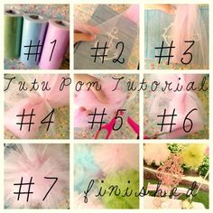 DIY Tulle Pom Pom Tutorial - Use them in weddings, bridal showers, baby showers, birthday parties  anniversaries.  A fun, colorful  budget-friendly decorating idea.