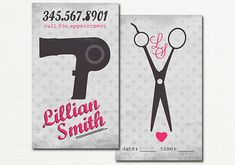 Hair Salon Business Card - Gray and Pink Hair Stylist Business Card - Calling Card - Appointment Card - Vintage Blow Dyer and Scissors