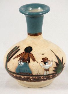 Mexican Ceramic Vase Signed Folk Art Hand Painted/Made Mother & Child