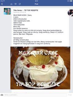 Milkybar koek Beef Recipes, Cookie Recipes, Recipies, Dessert Recipes, Desserts, Africa Recipes, South African Recipes, Cake Cookies, Cupcake Cakes