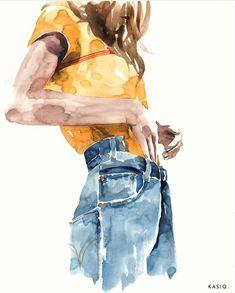Sketch Book watercolor on paper © kasiq . Art Watercolor, Watercolor Fashion, Watercolor Illustration, Fashion Sketches, Fashion Illustrations, Illustrations Posters, Drawing Fashion, Drawing Sketches, Art Drawings