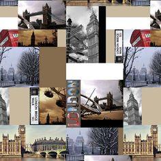 Landmarks Of London Photo Digital Printed Full Colour Designer Cotton Curtain Upholstery Fabric - Free UK Postage