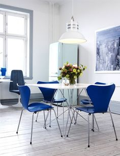Cobalt dining chairs and pedestal table