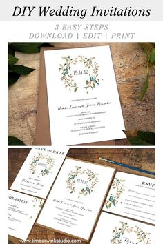 This romantic pink floral watercolor green leaf wreath design is a complete printable wedding suite which includes editable templates for matching Invitations, RSVP, Enclosure Card, Thank You, Save The Date & other DIY reception cards. This design wil Summer Wedding Invitations, Watercolor Wedding Invitations, Printable Wedding Invitations, Wedding Invitation Suite, Floral Invitation, Wedding Stationery, Wedding Suite, Formal Wedding, Elegant Wedding