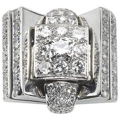 Diamond Platinum Cocktail Ring | From a unique collection of vintage cocktail rings at https://www.1stdibs.com/jewelry/rings/cocktail-rings/