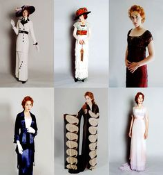 jenni-rose:justonedimple / fuckyeahrmstitanic I've watched Titanic probably 100 times and I don't remember the outfit in the center on the bottom. Can anyone remind me? Also: GUH. Titanic Costume, Titanic Dress, Titanic Movie, Rms Titanic, 1900s Fashion, Edwardian Fashion, Vintage Fashion, Historical Costume, Historical Clothing