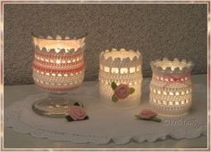 *°°°Häkelanleitung°°°*  Die gehäkelte Windlichthülle macht aus einem einfachen Glas ein romantisches Dekoobjekt...  Durch die Maschen schimmert der Kerzenschein und taucht alles in romantisches...