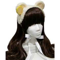Sweet Lemon Sherbet Ice Cream Bear Gothic and Lolita Bonnet Headdress... (52 CAD) ❤ liked on Polyvore featuring accessories, hats, bow hat, cream hat, ribbon hat, bear hat and gothic hats